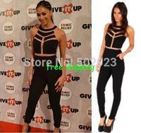 New Fashion women Milenka Mesh Panel Jumpsuit Net yarn splicing halter Jumpsuit Sexy  free shipping