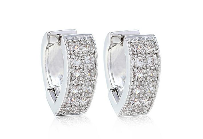 Platinum Plated Hear Shape Loop WIth Tiny AAA+ Swiss CZ Diamond Hoop Earring For Women(China (Mainland))