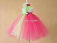 hot pink green flower tutus dress for princess flower girls fluffy dresses retail beautiful girls dress free shipping
