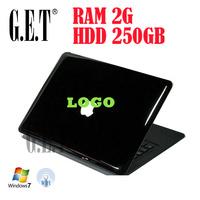 Cheap 13.3 Inch Laptop Notebook computer, 2GB RAM+250GB HDD, Intel Atom N2600 Dual Core 1.6Ghz,WIFI,Webcam,Windows 7 Ultimate