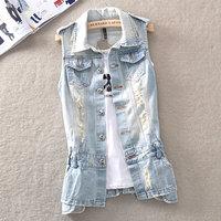 Slim Pocket handmade Personalized Distressed Fashion Vest Retro Denim Medium-long Finishing vest Outerwear Female no inside TOPS