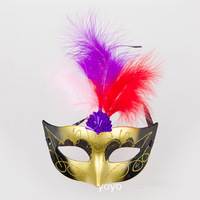 Hot Sale 20 Pcs/Lot New Luminous Feather Mask Powder Princess Mask, Lovely Feather Masquerade Mask/Painted Luminous Feather