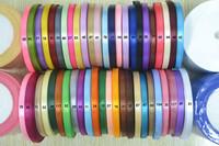 "free shipping 1/4""(6mm) single face satin ribbon,25yards/roll.500yard /lot mix colors"