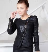 New 2014 Spring and autumn leather clothing coat Women outerwear motorcycle PU slim fashion leather jacket women girls black