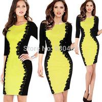 M L XL Plus Size 2014 New Spring Winter Celeb Bodycon Bandage Dress OL Elegant Pencil Dress Summer Casual Lace Dress Yellow