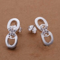Hot Sale!!Free Shipping 925 Silver Earring,Fashion Sterling Silver Jewelry,Insets 8-shaped Earrings SMTE296