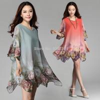 Plus Size L-XXXL Women Clothing Dress New Summer 2014 Irregular Rose Chiffon Print Flowers Dresses Woman Big Size Women 7208