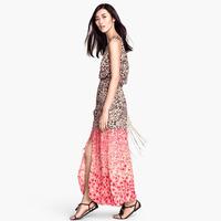 2014 NEW ARRIVAL Free Shipping Women Summer Chiffon Leopard Patchwork Dress Maxi Dress Sleeveless O-neck Dress