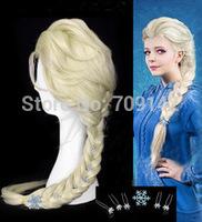 New decorative 6 flowers Princess Frozen Snow Queen Elsa cosplay wig Kanekalon COS body wigs