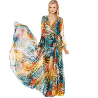 2014 NEW ARRIVAL Free Shipping Women Tropical Rainforest Plants Flowers Printed Long-sleeved Bohemian Dress Maxi Dress