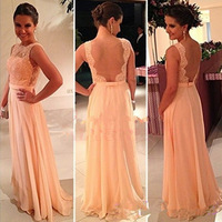 Vestidos De Fiesta Free Shipping Best Selling Peach Long Chiffon A-Line Formal Evening Gowns Nude Back Lace Prom Dresses