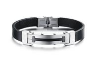 New Arrival Fashion Jewelry Male Gift Punk Bracelet Titanium Steel Genuine Leather Charm Bracelets & Bangles For Men