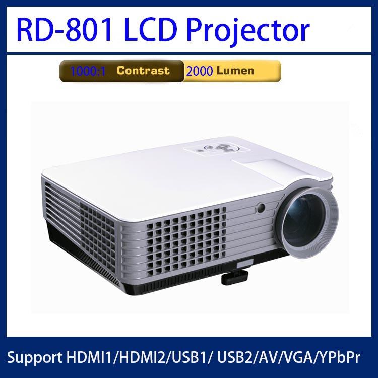 RD-801 high brightness 2000 lumen projector,1000:1 contrast lcd projector,home office projector support HDMI*2/USB/AV/VGA/YPbPr(China (Mainland))