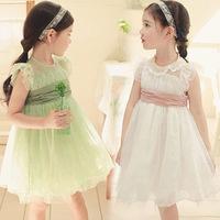 Girl Party Dress Beautiful Belt Lace Pure Color Girl Kids Dresses Summer Dress Hot Sale