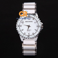 2014 Top Luxury Brand watch unisex ceramic silver stainless steel dress wrist watch High quality quartz wrist watch BC1-1009#