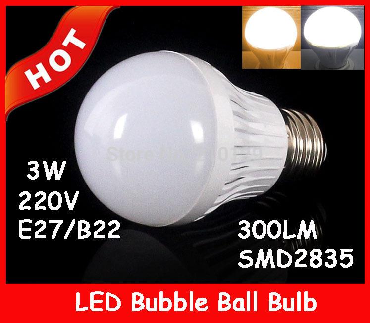2pcs/lot Free Shipping B22 SMD2835 E27 3W led spotlight 85-265V High power Globe Lamp Energy Saving Light 300LM(China (Mainland))