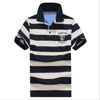 Summer men t shirt  Cotton striped turn-down collar t-shirt  Tsenka fashion comfortable t shirt M  L XL XXL XXXL Free Shipping