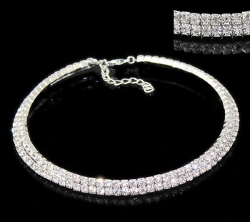 "1 Silver Plated Clear Горный хрусталь 2 Rows Elastic Choker NeckКружево 37cm(14 5/8"")"