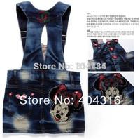 5pcs/lot baby girls suspender dress fashion minnie strap dress children denim dresses