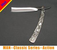 2014 Vintage Aluminum Straight Edge Stainless Steel Hand Shaper Barber Razor Folding Shaving Knife Free Shipping