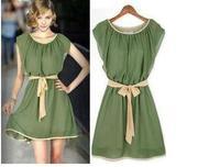 Free Shipping Dresses New Fashion 2014 Autumn Winter Dress Women Casual Chiffon Elegant  Mini Dress# 5694