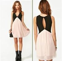 Fashion 2014 colorant match the back cutout V-neck sleeveless chiffon vest one-piece dress XC10-1031#