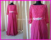 FCD15 2014 New Arrival Real Sample Lace Chiffon Arabic Evening Dresses Long