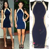 Extra size XXL New Women Celebrity  Party Club wear Evening Sexy Slim Blue dress Patchwork Bandage Bodycon Mini Dress 655040