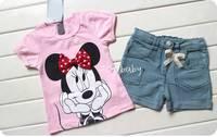 2PC New baby girls Top+short pants Set Clothes Jeans casual piece suit
