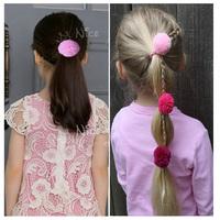 Wholesale 20pcs Beautiful Mesh Pom Pom Girl's Ponytail Holder Children Elastic Hairband Fashion Kid's Hair Accessory