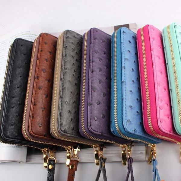New Women Zipper wallets Purse High-grade PU Leather Ostrich Grain Wallet Free Shipping(China (Mainland))