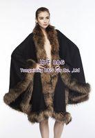 BG70114-1  Real Cashmere Shawl With Roccoon Dog Fur Trimming Wholesale Retail Fashion Shawl