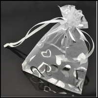 Free Shipping 100 White Heart Organza Wedding Gift Bags & Pouches13x18cm  00666