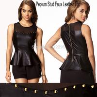 FreeShip B1002 Summer Women Casual T Shirt 2014 New T Shirt Rivet Faux Leather Peplum Top Fashion Brand T shirt Butterfly Border