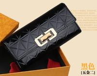 New arrive wallet women 2014 hot selling patent leather long design diamond women's purses billfold purse female women wallets