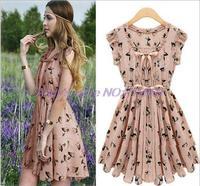 Womens Celebrity Style Reindeer deer Print Sleeveless Chiffon Dress new 2014 summer dress  , S-XL,1027