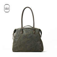 Kilikili spring and summer fashion nubuck cowhide women's handbag brief vintage blackish green genuine leather handbag
