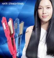 Straightening irons New 2014 Pink Styling tools Ceramic Electronic Hair straightener / nano titanium flat iron Free Shipping