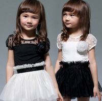 Hot Baby Kid Girls Princess Party Casual Tutu Lace Flower Dress One-Piece Skirt