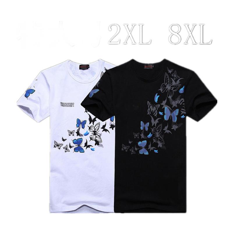 2014 Mens Big Plus Size 5XL 6XL Butterfly Print Cotton Short Sleeve T-shirt Hip Hop shirt Men Designer Brand Clothing T shirts(China (Mainland))