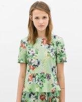 New 2014 Spring Summer Autumn Women Shirt Shirts Tops Tee Floral Pattern Print Ruffles Free Shipping xhf