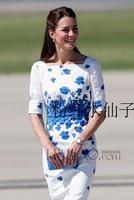 2014 Summer ladies kate middleton dress blue and white print short-sleeve square collar knee-length women dress plus size S-XXL