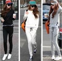 Hot 2014 New fashion Women Sport suits long sleeve Tracksuit sport Casual clothes 2pcs set 3 colors thin top + pants LS439