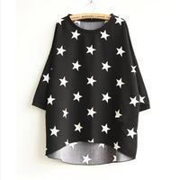 2014 spring t shirts shirt women's batwing shirt three quarter sleeve loose batwing sleeve low-high t-shirt