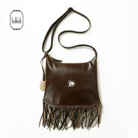 Summer new arrival kilikili2014 vintage all-match brown leather bag genuine leather tassel one shoulder cross-body women's