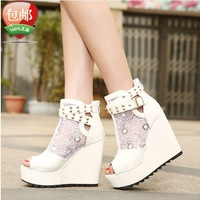 2014 Summer Fashion Mesh Platform Open Toe Wedges High-Heeled Sandal