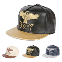 New Arrival 2014 Fashion Snapbacks Eagle BOY London Embroidery Leather Cap Flat Brim Hat Hip-hop Cap Baseball Caps For Men Women