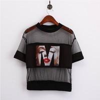 Sexy  Monroe Head Portrait Pattern Patchwork Gauze T-shirt Crop Tops hollow out black top tees
