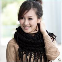 women autumn winter scarf infinity scarf pattern tassel shawl fringed hollow thin warm wool scarf neck scarf for sale