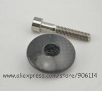 """Full Carbon fiber Headset Top Cap 1 1/8"""" headset Top Cap +M6X35mm Titanium ti screws Bolts"""